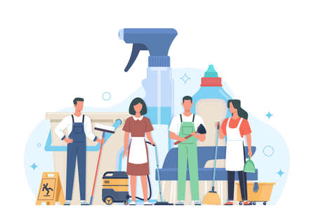 Professional cleaning service. Cleaners group in uniform with washing equipment and detergents, men and women janitors team, hygiene industrial and residential premises vector concept Illusztráció