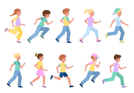 Running kids set. Young happy runners side view collection, children sport activities, athlete boys and girls participate in marathon, healthy lifestyle. Vector flat cartoon concept Illusztráció