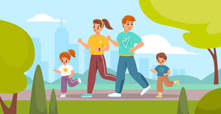 Outdoor sport activity. Happy family on park jogging, parents and children engaged running, mother father and kids fitness training, active leisure healthy lifestyle vector concept