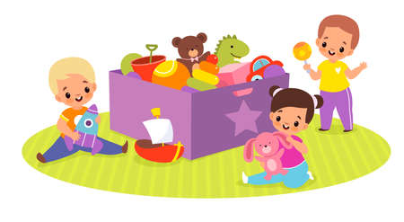 Kids play toys box. Happy children in game around big container with plush bear, ball and dinosaur, cute babies activities. Little boys and girl sitting on floor vector cartoon concept Illusztráció