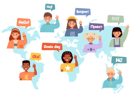 Multilingual communication. International friendship, world map multi ethnic children tags, kids say hello different languages and waving hands smiling happy boys and girls vector concept