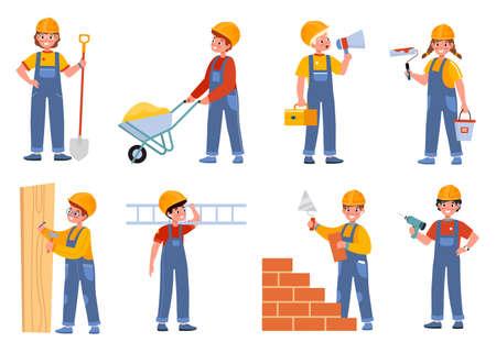Children builders. Engineer characters kids, worker professionals in overalls, young constructors with orange helmet. Teen construction site, carpenter and molar vector cartoon isolated set Illusztráció