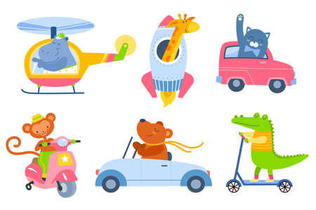 Animal transport. Cartoon kids zoo characters in different vehicles, cute fauna drivers in helicopter, rocket, ride scooter and car. Funny mammals travellers. Vector cartoon isolated set