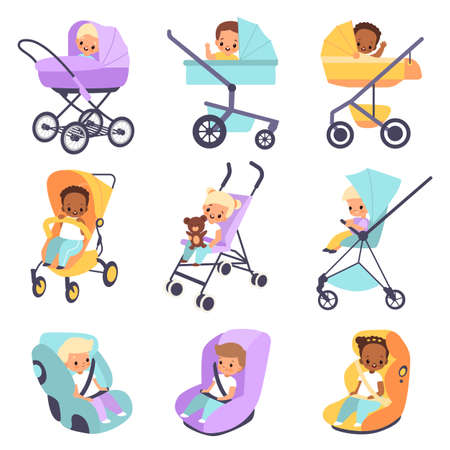 Baby strollers. Cute multiethnic children in buggies and car seats, kids walk transport, little boys and girls carriages, moms help devices perambulator or booster chair vector isolated set Illusztráció