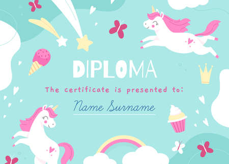 Unicorns frame. Kids diploma template with magic items, fairy creatures, rainbow and sweets, mythical horses. Children school certificate, preschool graduation vector cartoon concept