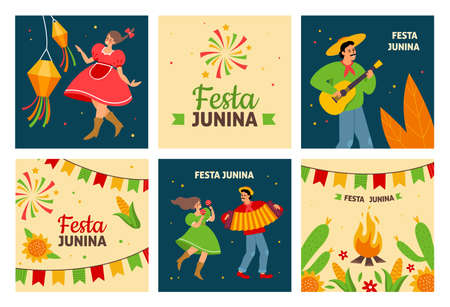 Festa junina. Traditional latin american fertility festival, dancing pueblos people with instruments in traditional costumes, village holiday fair. Festive square posters vector cards set