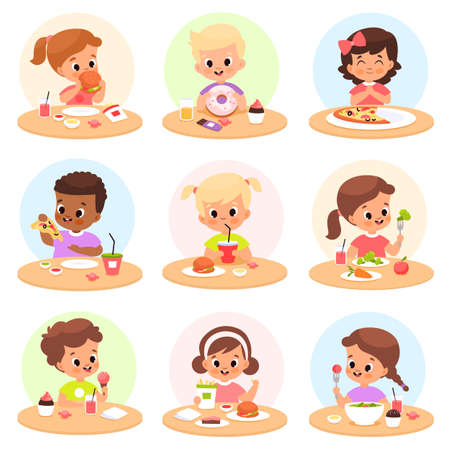 Children eat. Happy kids have lunch separate tables, personal place cafeteria, hungry boys and girls take healthy and fast food, pizza, hamburger and vegetables at school breakfast vector set Illusztráció