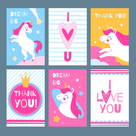 Cute unicorns. Magic animals with greeting text postcards collection, sweet fairy horses with pink manes, stars and hearts, girly pony with lettering. Vector cartoon cards or posters