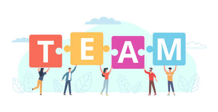 Team work puzzle. Tiny people put in row big letters, business collaboration and cooperation, joint achievement goal. Partnership in company, men and women work together vector cartoon concept