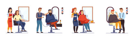 People in hair salon. Men and women in barbershop, professional stylists work with clients, guys and girls front mirrors, hairstyles creating, and bright coloring. Vector isolated set