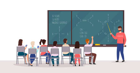 Students at lecture. Professor speaks in audience, listeners group on chairs back view board with chemical formulas, young people in university and college. Education vector cartoon concept