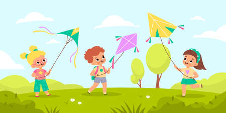 Children fly kites. Kids launching air toys in nature, outdoor games and hobbies