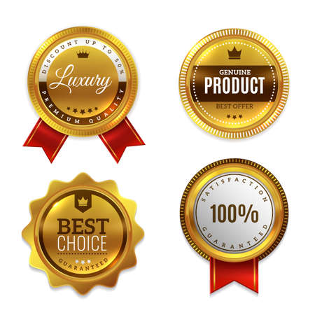 Badges gold seal quality labels.