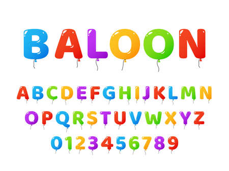 Air balloons font. Colored letters and numbers Векторная Иллюстрация