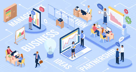 Isometric office. Business people infographics Vetores