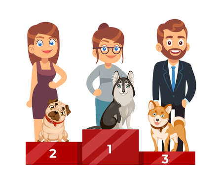 Dog Show. People with purebred pets, cute domestic puppy on pedestal standing, award ceremony, first second and third place, winner exhibition, dogs competition, vector isolated concept