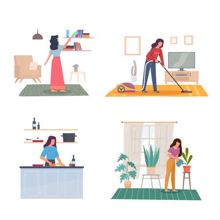 Domestic women affairs. Young adult girl cleans house, wipes dust, vacuums carpet, prepares food and water flowers. Female character in room interior, housekeeping activity vector concept