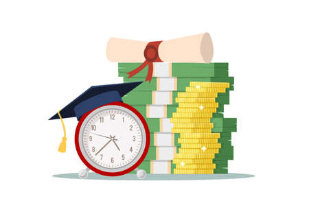 Knowledge investing. Retro alarm in graduation hat, pile of dollar and golden coins, investment in education and student loans, savings for university. Vector cartoon isolated concept 일러스트