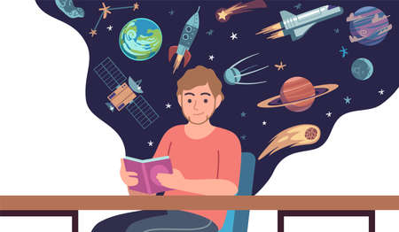 Man read space book. Young male character sitting at desk and holding open textbook, cosmic objects and rockets on background, science fiction literature. Vector cartoon concept 일러스트