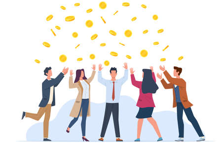 Money rain. Happy people in business suits rejoice, golden coins falling, successful win in lottery, jackpot and income, profit and investment concept, vector cartoon isolated illustration 일러스트