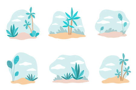 Plants backdrops. Tropical trees and bushes collection, hand drawn palms, natural landscape, rainforest and jungle, sky and clouds, circle forms background, vector cartoon isolated set