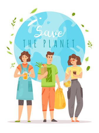 Save the planet. Young men and women with eco bags and vegan bio products, Earth on background with text, zero waste and go green poster, clean environment, vector cartoon isolated concept 일러스트