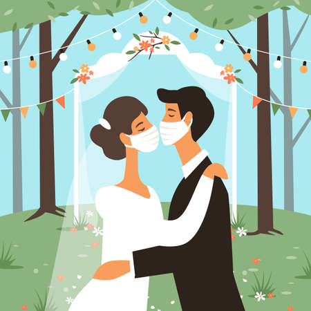 Wedding in masks. Bride and groom kiss, people in medical protective mask 일러스트