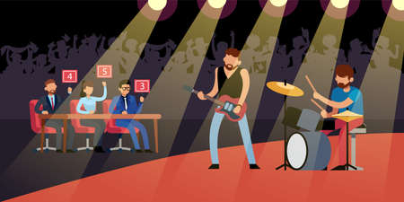 Talent rock show. Guitarist and drummer on stage, crowd of fans in hall, judges give marks, male musicians with electric guitar and drums, musical group performance. Vector cartoon concept 일러스트