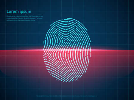 Fingerprint scanning. Digital authentication, checked identity verification thumbprint, biometric reader, laser technology. Smartphone id, poster with copy space vector concept 일러스트