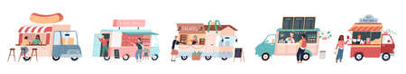 Street food kiosks. Food trucks with different cuisine, seller and customer, mobile cafe. Coffee shop, falafel, and popcorn vans. People buy hot dogs and desserts. Takeaway meal vector set