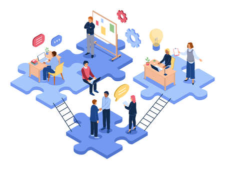 Isometric teamwork. Business people group solve problems together, office employees, joint project, business collaboration, partnership in company, men and women work vector 3d concept 일러스트