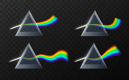 Prism rainbow shapes. Realistic physics refraction, triangular pyramid optical effect, stylized different curves wave lights. Multicolor gradient beam. Vector isolated set