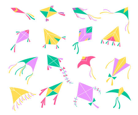 Flying kites. Different shapes colors air toys, Basant Panchami indian harvest festival decor, kids hobbies and outdoors games isolated elements. Freedom symbol, vector flat cartoon set 일러스트