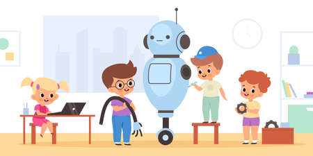 Kids robotics project. Young inventors assemble big electronic toy in workshop, children engineering project, tech education class. Cute pupils repair cyborg vector cartoon isolated concept