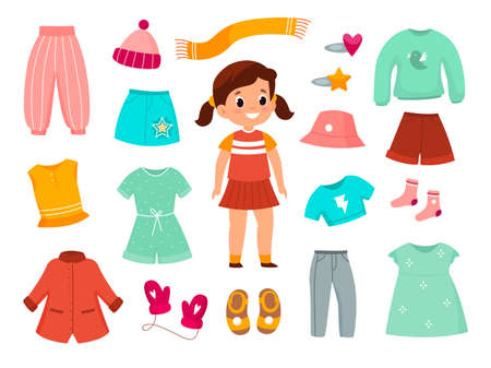 Girl clothes. Childish female fashionable apparel collection, different type of casual wear, color kids dresses, skirts trousers and outerwear. Childhood fashion collection vector cartoon isolated set 일러스트