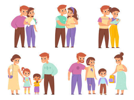 Family development stages. Happy couple life, relationship between man and woman periods, pregnant wife, motherhood and fatherhood, cute parents with children. Vector cartoon isolated set