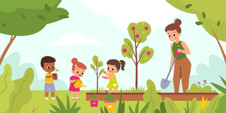 Kids garden planting. Happy children with women tend plants outdoor, woman with little girls and boy dig holes and water flowers. Summer landscape, vector cartoon isolated concept