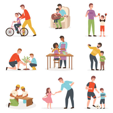 Father day with kids. Dad with children pastime collection, joint parent and child activities, girls and boys play with adult, family life. Daughter and son with daddy vector isolated set 일러스트