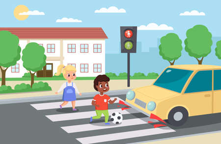 Violation road rules. Kids abruptly cross path, dangerous scene, playing ball roadway, sudden braking car, traffic problem. Warning light red signal, educational scene vector concept
