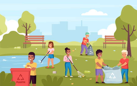 Children collect garbage. Kids cleaning park of trash, boys girls sort waste and save nature, volunteers clean up plastic. Pollution protection and ecology care. Save the Earth vector concept