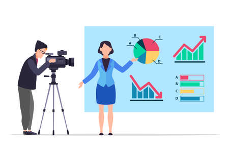 Economic news. People record reportage. TV presenter in studio. Woman shows infographics and diagrams. Man filming television program with camera. Vector financial and business columnist