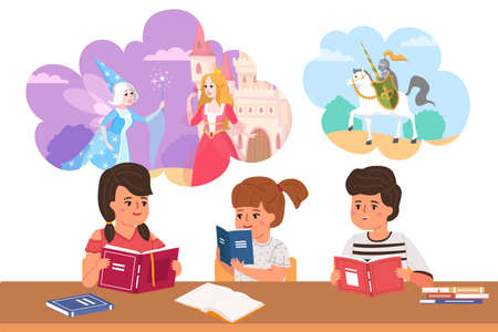 Kids read fairy tales. Cartoon children dream of princesses and knights. Boys and girls sit at table with books. Characters fantasize about dreamlike adventures. Vector pupils daydreaming 일러스트