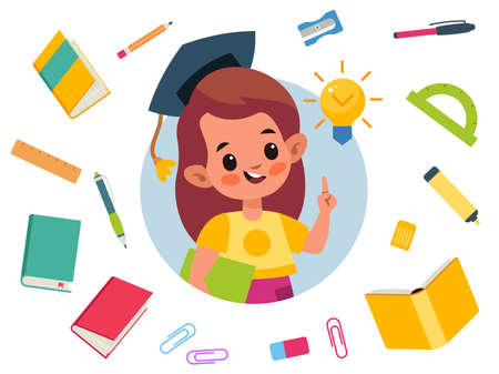 Kids education. Cartoon girl with idea light bulb. Schoolgirl holds book. Isolated textbooks and stationery. Primary school graduate in black cap. Vector character studying in elementary