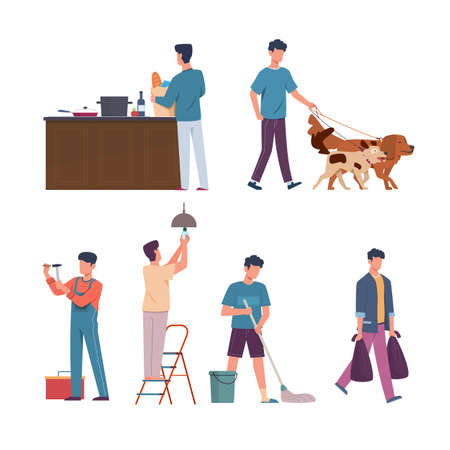 Men domestic affairs. Housekeeping concept. Male mops floor and takes out trash. Character repairs or changes bulbs. Person walks dogs, buys and cooks food. Vector household scenes set