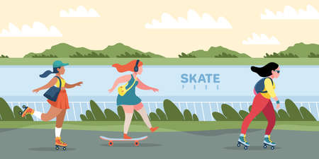 Skate park. People skating or skateboarding. Natural area with skateboard track. Women training outdoor. Leisure and extreme hobby. Cute teenagers fast travel on road. Vector city sport 일러스트