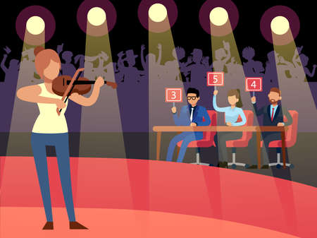 Talent show. Creative competition. Woman playing violin. Jury evaluates performance and give marks. Spotlights illuminate stage. Television musical program. Vector musician contest Vettoriali
