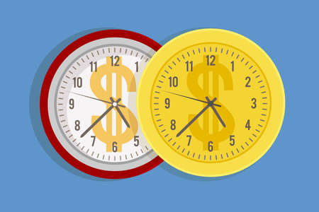 Working time cost. Expensive price for minutes and hours metaphor. Watch dial with dollar sign. Cartoon timepiece and golden coin. Comparison of money and seconds. Vector salary rate 일러스트