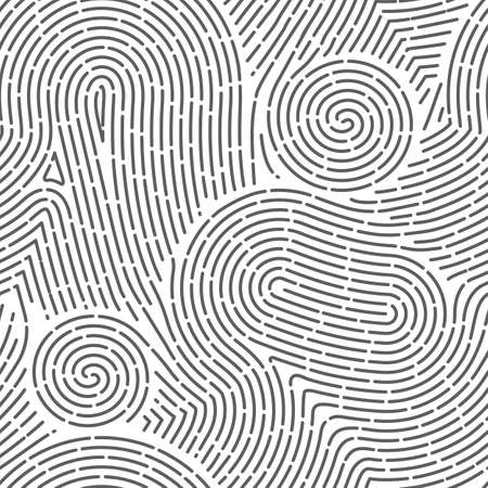 Seamless finger print. Black and white macro pattern. Unique thumbs marks. Personal biometric data. Scanning technology. Police evidence. Vector background with curved lines and curls