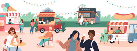 Street food festival. Gastronomic holiday in meal trucks park. Cartoon people buy snacks and drinks in mobile cafes. Customers sit at tables outdoor and eat hot dogs. Vector eatery vans