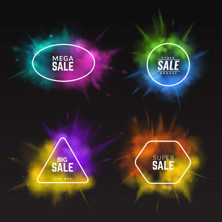 Color splashes sale banners. 3D paint explosions, discount flyers set. Multicolor Holi festival powder clouds and minimal frames with advertising lettering. Vector special offer promotion